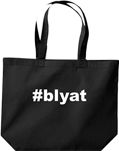 Shirtstown große Einkaufstasche, Hashtag #blyat, schwarz