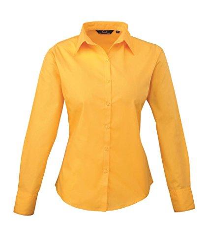 Premier Women's Formal Poplin Long Sleeve Shirt Jaune tournesol