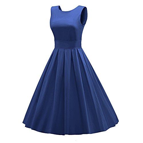 iLover Vintage Rockabilly gestreiften Kleid Hepburn Stil Partykleid Cocktailkleid 50er Jahr Abendkleid V034-Blue