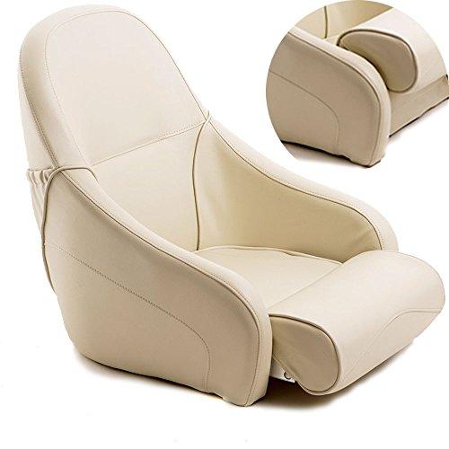 wellenshop Steuerstuhl Bootssitz Wohnmobilsitz Flip-Up Sitz Bootsstuhl Steuersitz creme/beige Boot
