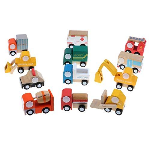 WDYJMALL 12pcs Wooden Mini Cars Vehicle Model Set Toys Christmas Birthday Gifts for Kids Children Boys Girls – Bus Fire Engine Concrete Shovel Forklift Post Ambulance Police Car
