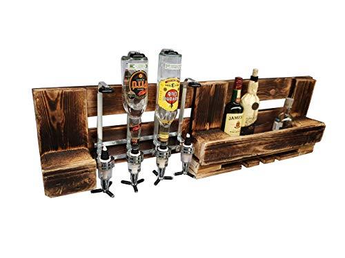 Wandbar mit Getränkespender 4 cl Weinglashalterung aus rustikalen Vintage Paletten Holz geflammte Europaletten