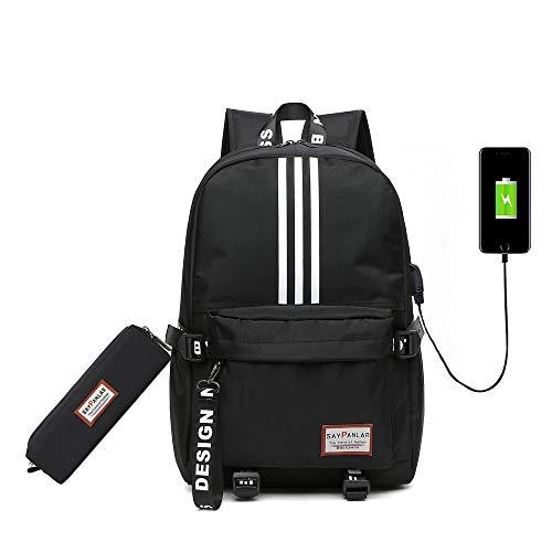 Schultasche Doppel Schultertasche Nylon Rucksack Unisex +USB-Funktion