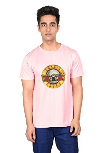 LetsFlaunt Guns N Roses T-shirt Pink Guys Dry-Fit-Small Nw  available at amazon for Rs.449