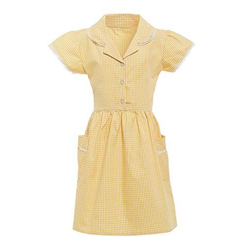 squarex Kids Gingham Girl Princess Kleid Turndown Rock Lace Plaid Kleid Check Pocket School Kleid Kurzarm Rock Outfits