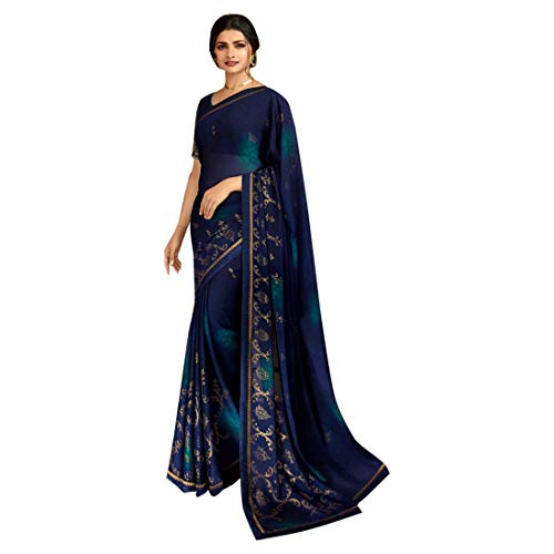Georgette Palazzo Hose (Georgette Zari Shimmer Saree Bluse Light Sari Indische Mode Frauen Party formell 8111 Unstitched Blouse pc blau)
