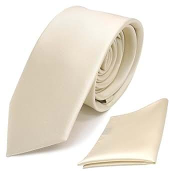 schmale Schlips Krawatte + Einstecktuch creme beige