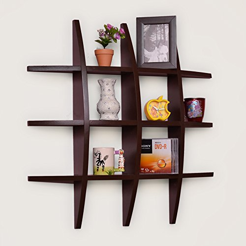 USHA Furniture Home Décor Globe Shape Floating DIY Wall Shelves Rack (Brown wall shelf rack).