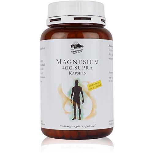 Magnesium 400 Supra • 300 Kapseln (10 Monatsvorrat) • 400 mg reines Magnesium pro Kapsel • aus Prinzip KEIN Magnesiumstearat • Made in Germany • Kräuterhandel Sankt Anton