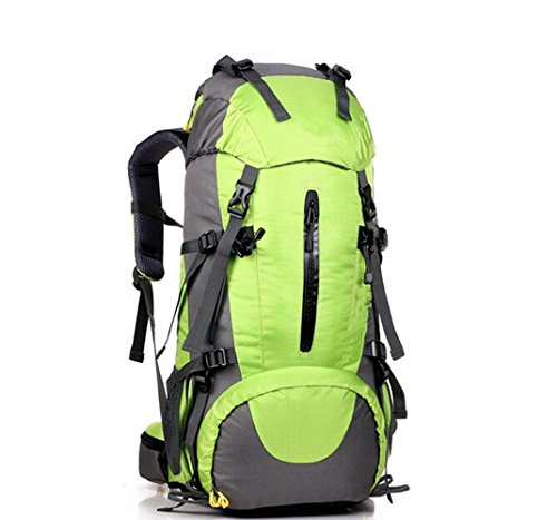 GOUQIN Outdoor Rucksack Klassische Mode 45+5 L Multifunktion Klettern Taschen Wasserdicht Tragen Walking Paket Masse Rucksäcke Grün