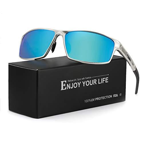 TJUTR Polarisierte Herren Sonnenbrille Verspiegelt Metall Rahme Ultra Leicht100% UV Schutz Fahren (Silber/Blau(Verspiegelt))