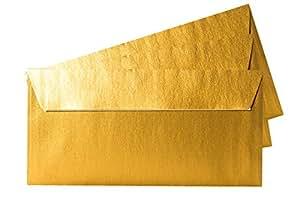 Paper24 Enveloppe en papier Doré métallique Format long avec rabat adhésif 100 g/m² 11 x 22 cm