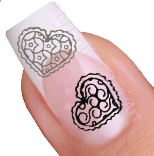 Coeur noir et argenté pour ongles décalques à l'eau - Transfert Décalque à l'eau, tatoo