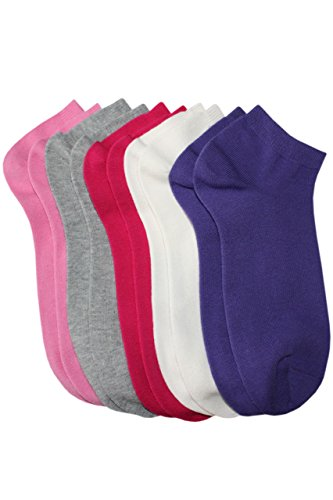 Weri Spezials 5 Pairs of Socks-Sneakers for Girls Colors: Violet/Grey/Pink/Rose/Creme