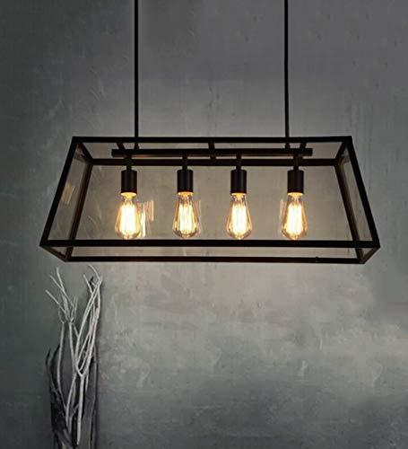 Einfach Stil Pendelleuchte Eisen Beleuchtung Glas Schatten Pendellampe E27 Hängelampe Schwarz Metall Rahmen Deckenpendelleuchten Lampe 4-Flammig Hängeleuchte Schlafzimmer Esszimmer Wohnzimmer cafe