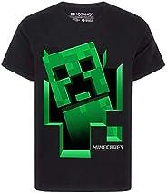 Minecraft Negro Manga Corta de la Enredadera Dentro Camiseta del Muchacho
