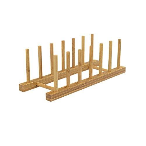 6 Rejillas Estante Bandeja de Almacenamiento Plato Cocina Sostenedor Bambú Placa Soporte Escurridor Herramienta