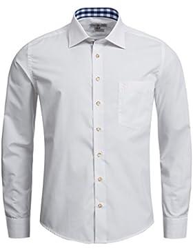 Almsach Herren Slim Fit Trachtenhemd HE100 weiß-jeans