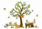 Wandtattoo kinder Babyzimmer Aufkleber Eule Eulen Wandsticker Wand Waldtiere Kinderzimmer Wandaufkleber Dekoration fürs Baby Kindergarten Baum Tiere MK 66 XL 196 cm x 153 cm