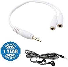 captcha 1 x 3.5mm Male to 2 x 3.5mm Female Y Splitter AUX Auxiliary Stereo Cable With Earphone With Mic, Handsfree With Deep Bass And Music Equalizer