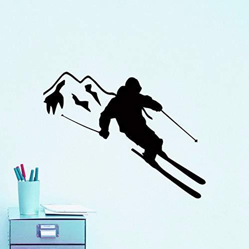 Pbldb 69X57 Cm Extreme Sport Wandtattoo Skifahrer Skifahren Vinyl Wandaufkleber Für Kinderzimmer Ski Sport Jungen Schlafzimmer Dekor Kunstwand