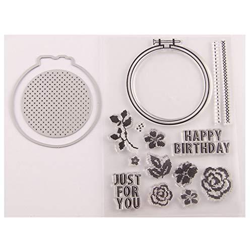 Ruda Happy Birthday Flower Siegelstempel mit Stanzformen Schablonen-Set DIY Scrapbooking Prägung Fotoalbum Deko Papier Karte Handarbeit