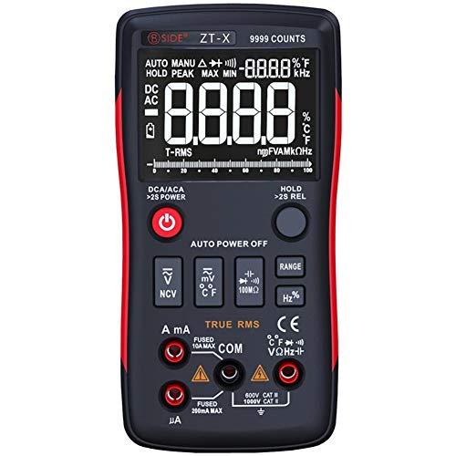 Digital Multimeter, True RMS Touch-Ton Handheld Multi Meter AC Voltmeter 9999 Counts mit Analog Bar Graph und Backlit NCV Temperatur-Diode-Continuity Tester Bar Graph Meter