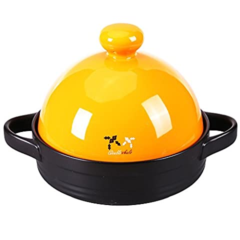 Tagines,Doublewhale Tagine Pot Ceramic Casserole Dish Pot,Healthy Oven Dish Cooking Pot,Colorful 600 Degrees Clay Stew Pot for Moroccan(1.3L/Yellow)