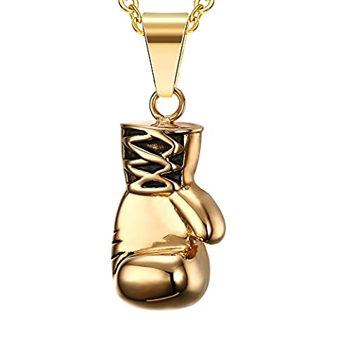 Vnox Acier inoxydable or gant de boxe collier pendentif,haute polie avec la chaîne libre