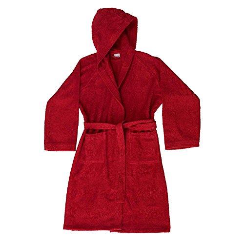 Accappatoio bassetti uomo donna con cappuccio spugna di puro cotone 360gr/m² (l - 50 / 52, rosso - 1139)