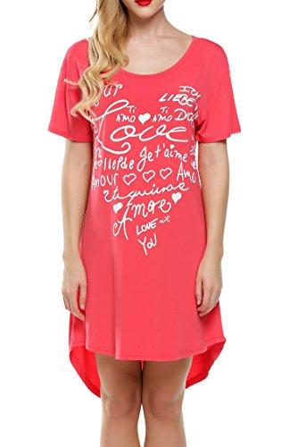 Ekouaer Damen Weich Nachthemd Sleepshirt Schlafanzug Buchstabe Druck-lose Negligee Nachtwäsche Pyjamas Rot XL