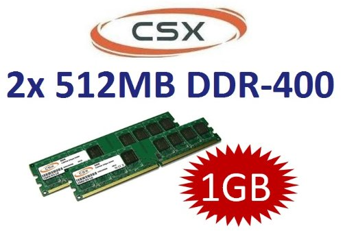 2x512mb Speicher-modul (1GB DUAL CHANNEL KIT: CSX original 2x 512 MB 184 pin DIMM DDR-400 (400Mhz PC-3200 CL3) - single side für PC's und Festrechner)