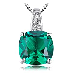 Idea Regalo - JewelryPalace Cuscino 3.4ct Verde Artificiale Russo Nano Smeraldo Solitario Ciondolo Collana con Pendente 925 Argento Sterling Catena 45cm
