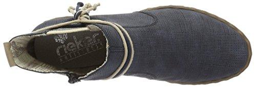 Rieker Y1893, Bottes Chelsea Femme Bleu (atlantis/Beige / 15)