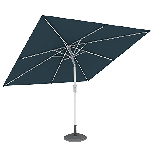 PARAMONDO Interpara Ombrellone da giardino e balcone 3 x 3m (quadrato / verde) / Telaio con base di appoggio inclusa (argento)