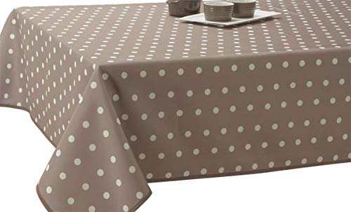 Nappe Anti-Taches Pois Taupe - taille : Rectangle 150x200 cm