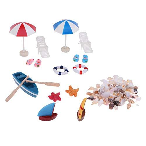 Luo-401XX 1/12 Puppenhaus Miniaturen, Mini Boot Sonnenschirm Shell Strand Landschaft Modell Pretend Play Spielzeug Kinder Puppenhaus DIY Zubehör Wohnkultur