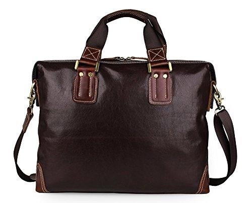 Everdoss Hommes sac à main en cuir véritable sac de messager sac à bandoulière sac de business sac d'affaires Commercial café