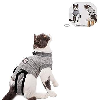 Yuhtech Gilet de Récupération de Chat, Cat Professionnel Restauration Convient pour abdominaux Collerette des plaies ou des Maladies de la Peau (XS-Length-30-35cm)