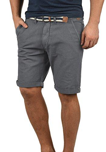 Indicode Mews Herren Chino Shorts Bermuda Kurze Hose Mit Gürtel Aus 100% Baumwolle Regular Fit, Größe:M, Farbe:Grey (905)