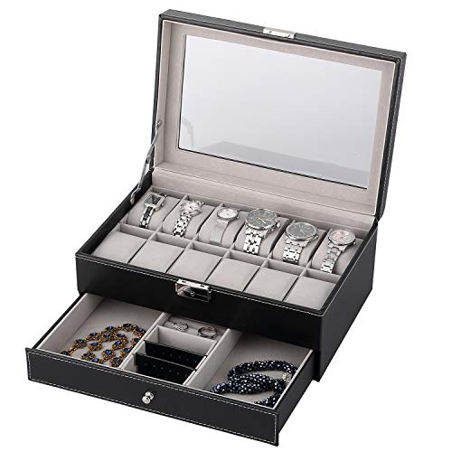 12 Watch Box Double-Layer Displa...