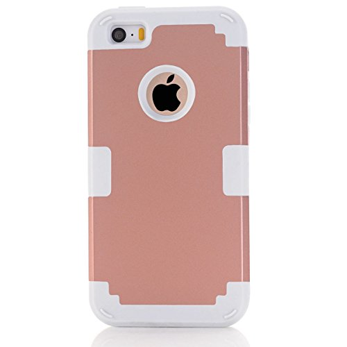 Apple iPhone 5 5s Coque, Moonmini® Ultra mince protection antichoc Combo Goutte protection Case Coque Housse Etui  pour Apple iPhone 5 5s, Rose Gold + blanc Rose Gold + blanc