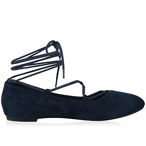napoli-fashion Damen Riemchenballerinas Lace Up Ballerinas Lack Glitzer Schuhe Veloursleder-Optik Flats Modische Slippers Jennika Dunkelblau Schnürer