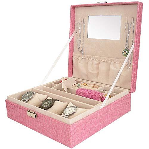 MWJK Mode Pu Leder Schmuck Schmuckkästchen Zubehör Aufbewahrungsbox Desktop Kosmetik Aufbewahrungsbox Tragbar Kosmetiketui Leicht zu tragen Reisen Zuhause Schmuckkästchen,Pink