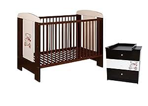 Best For Kids Gitterbett + Wickelkommode My Sweet Baby Babyzimmer mit Matratze aus Schaumstoff TÜV Zertifiziert Geprüft, Kinderbett Babybett weiß 4 Teile 120x60