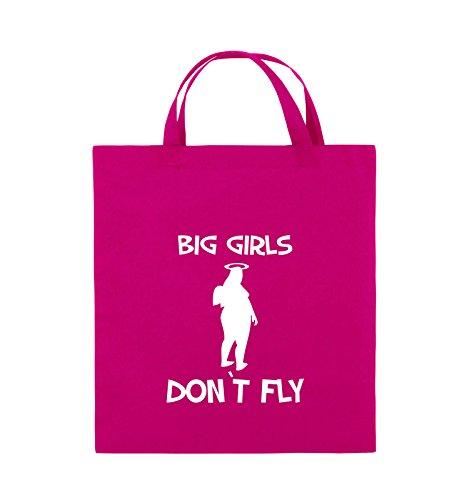 Comedy Bags - BIG GIRLS DON'T FLY - Jutebeutel - kurze Henkel - 38x42cm - Farbe: Schwarz / Pink Pink / Weiss