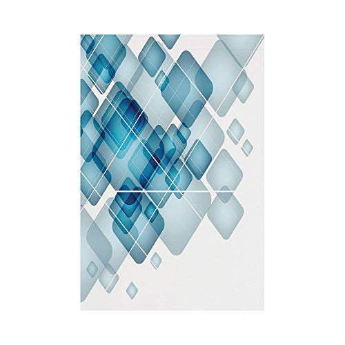Liumiang Eco-Friendly Manual Custom Garden Flag Demonstration Flag Game Flag,Abstract,Blue Colored Squares with Round Edges and Lines Modern Digital Technology Theme Decorative,Blue Whiteoor d¨¦COR Magic Line Square