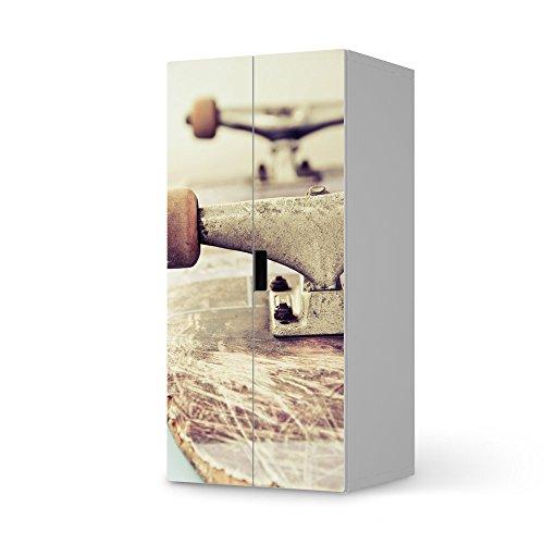 Möbel-Sticker Folie für IKEA Stuva Kommode Schrank - 2 große Türen | Sticker Dekorfolien Möbel-Tattoo | Einrichtung umgestalten Dekor | Design Motiv Skateboard (Skateboard-zimmer Dekor)