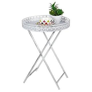 Shabby Chic Beistelltisch mit Tablett - Antik Sofatisch Couchtisch - Metall Blumen Tisch weiß