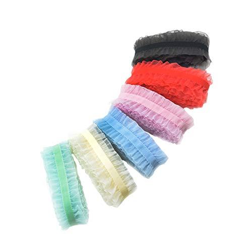 Sharplace 6 pezzi nastro di pizzo elastico corda in chiffon colorato 91 cm fare mestieri